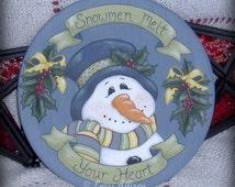 Snowman decoration Snowmen Melt Your Heart pattern packet instant download