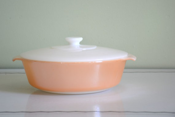 Vintage Anchor Hocking Fire King Peach Lustre Round Covered