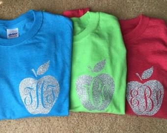 Monogrammed Teacher Apple T-Shirt