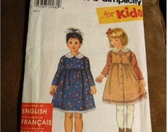1997 Simplicity Pattern Girl Dress sz A 3 4 5 6