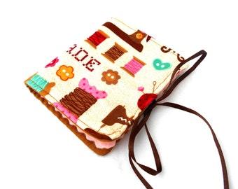 Sewing Handmake Needle Book - Brown Pink Needlebook