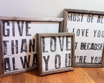 Large Love you Wooden Sign