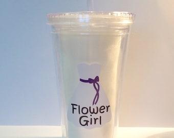 DIY Flower Girl Vinyl Decals Make Your Own Wedding Tumbler or Mason Jar