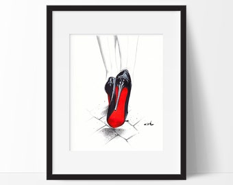 Acrylic Print Of Shoes With Red Soles