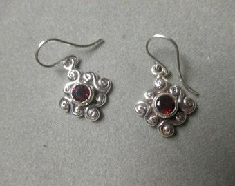 Sterling Silver Swirl Garnet Earrings, January Birthstone #ER106SSG