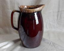 Hull Pottery Brown Drip Pitcher / Water Pitcher / Juice Pitcher / Ice Tea Pitcher / Tableware / Serveware / Barware / 1960s-1980s / 76 oz