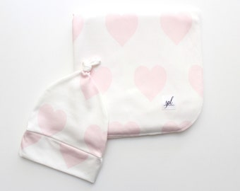 Organic Swaddling Blanket- White with Pink Hearts