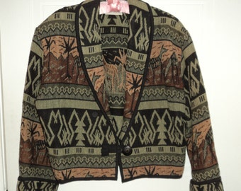 Vintage Sugar Street Weaver 100% Cotton Jacket with Camel and Palm Tree Designs Made in the USA