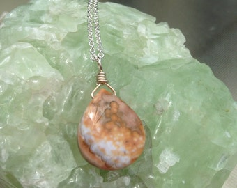 Ocean Jasper Necklace Tangerine and Peach Colors Sterling Silver Cable Chain Handmade Jewelry One of a Kind