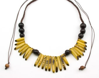 Adjustable Yellow Tagua Necklaces.