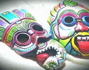 PRICE REDUCED! Pair of Hand Painted Hand Carved Vintage Wooden Sugar Skull Masks