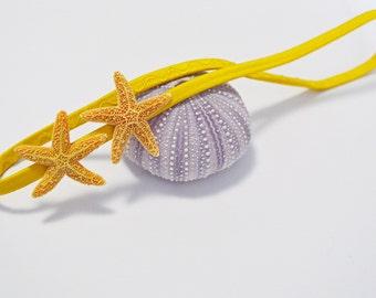 Yellow Elastic Double Starfish Headband - Beach Accessory, Mermaid Hair Accessories, Starfish Hair Accessories, Ariel Hair Accessories