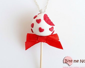 Food Jewelry Cake Pop Necklace - Valentine Red Velvet Cake Pop Necklace - Miniature Food Jewelry, Cake Pop Jewelry, Cake Jewelry