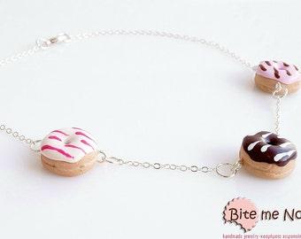 Donut Necklace - Mini Donuts Food Jewelry, Tiny Food, Cute Food Necklace, Polymer Clay Food, Kawaii Jewelry, Miniature Sweets, Cute Jewelry