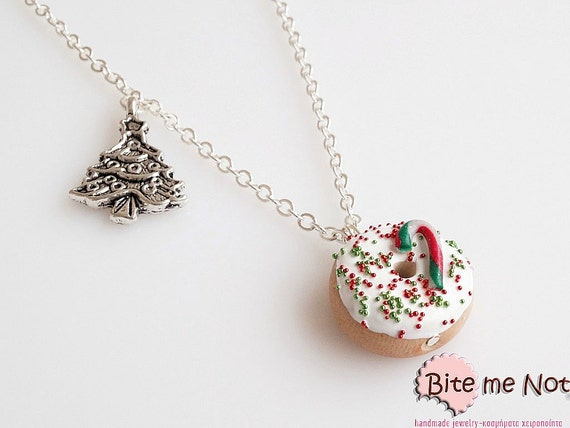 Food Jewelry Christmas Donut Necklace, Miniature Food Jewelry, Christmas Jewelry, Polymer Clay, Christmas Gift, Kawaii