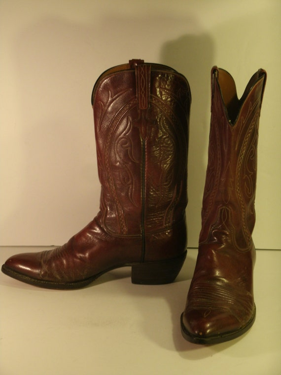 best handmade cowboy boots vintage lucchese boots cowboy western brown top stitching toe 6120