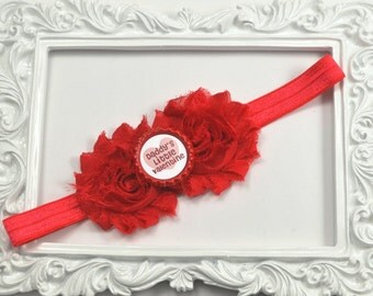 Valentines Day Headband, Red Flower Headband, Daddy's Little Valentine Headband, Newborn Headband, Valentines Day Bow, Red Valentines Day