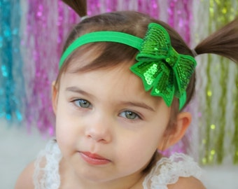 Green Bow Headband, Green Bow, St. Patricks Day Headband, Bow Headband, Green Headband, School Headband, Baby Headband, Sequin Bow