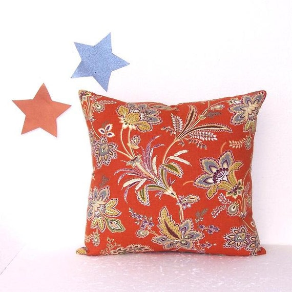 Burnt Orange Pillow Cover Terracotta Floral Accent Throw