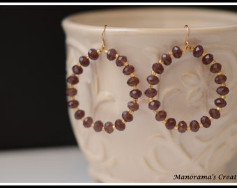 Aria Earrings - Purpleish maroon Crystal   paired with Gold Colored Seed Beads and 14K Gold Fill Wire Earrings