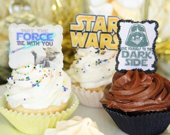 12 EDIBLE Star Wars Toppers - 4 per image-Darth Vader-Jedi-The Force-Yoda-Light Saber-Movie Night-Star Wars-party cupcake toppers