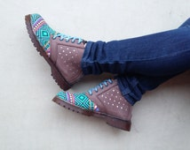 women shoes brown leather turquoise Ikat tribal canvas handmade Sneakers Marapulai stars