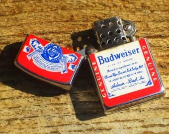Vintage 70's Budweiser Beer Flip Top Lighter