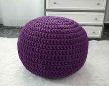Purple Ottoman Pouf - Purple Nursery Ottoman Footstool Pouf - Kids Crochet Floor Cushions Pouf - Purple Babyroom Home Decor