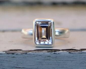 Emerald cut white topaz silver ring, emerald cut silver ring