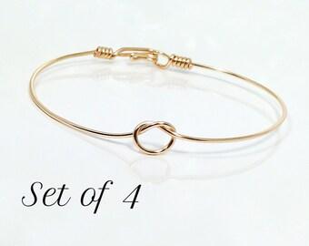 Set of 4 Tie the knot bracelets, bangle bracelet, wire knot bracelet, knotted bangle bracelet, gold knot bangle bracelet, dainty knot