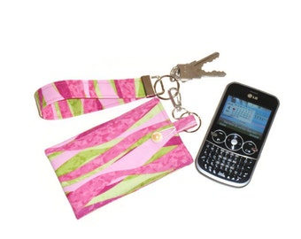 Padded Phone Sleeve, Fabric Pouch, Pink & Lime Green with Key Fob Wristlet, Phone Case Accessories, Birthday or Mother's Day Gift For Mom