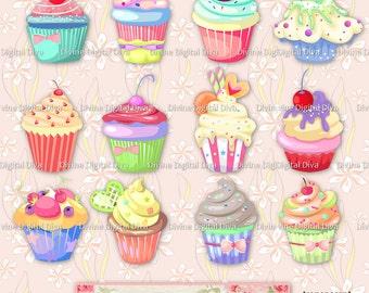 12 Pastel Cupcakes | Transparent Clipart Digital Images PNG Instant Download