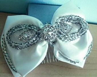 bridal ivory bow hair comb