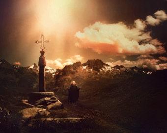 "Postcard photography art ""Dawn of the light cross"""