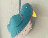 Wool Felt Bird Toy or Ornament, Aqua