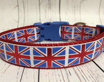 "Union Jack flag UK British Olympics 1"" Dog Collar"