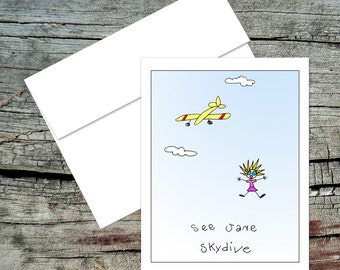 See Jane Skydive Blank Notecard, Dick and Jane, Original Art, Handmade Card, Aviation Theme, Pilot Humor
