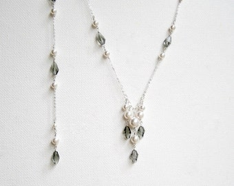 Pearl Crystal Wedding Necklace Backdrop Necklace Swarovski Wedding Necklace Pearl Bridal Necklace Sterling Silver Wedding Jewelry