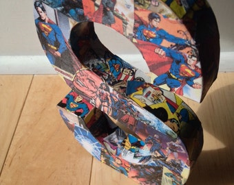 Custom Wooden Collage Comic Book Letter 8 1/2 inches tall