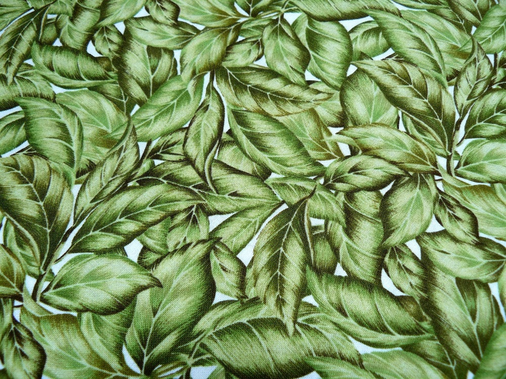 Green leaf print cotton quilt fabric