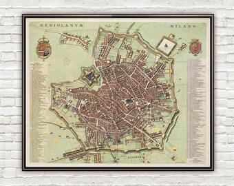 Old Map of Milan Milano, Italia 1700 Antique Vintage Map Italy engraving