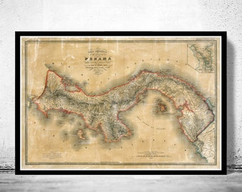 Vintage Map of Panama 1865