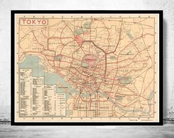 Vintage Map of Tokyo 1920 Japan