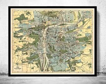Old Map of Prague 1900  Czech Republic