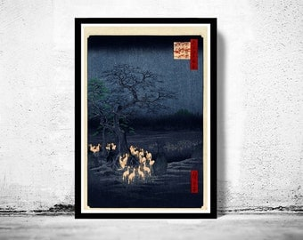 Japanese Art, Hiroshige New Year's Eve foxfires at the changing tree, Oji, 1857
