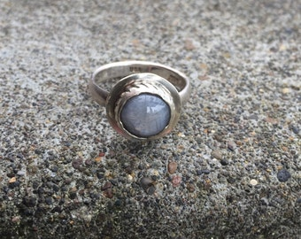 Sapphire ring, mens sapphire ring, opaque silver sapphire ring, sterling slver ring, blue gemstone ring, gray ring, gray stone ring, gemston