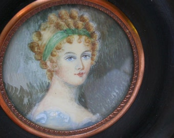French antique Portrait oil Painting Miniature Hand painted Circa 1880 gilt bronze ormolu wood frame