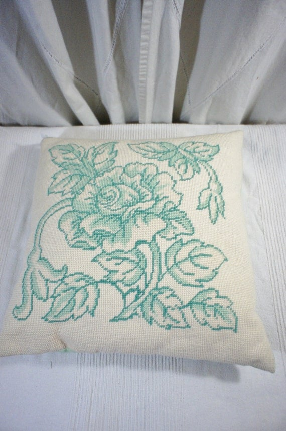 Needlepoint Pillow Decoration Crossword : Vintage cross stitch needlepoint pillow aqua floral cottage