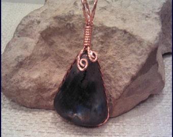 Labradorite Copper Wire Wrap Pendant Pw136