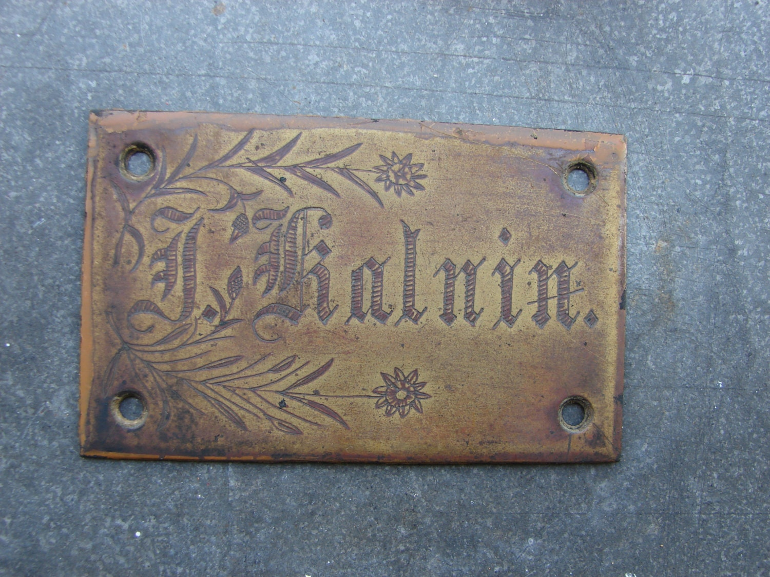 Antique Solid Brass Door Name Plate in Latvian brass